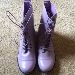 Hot Topic Shoes - Hot Topic Lavender Lace Up Combat Boots